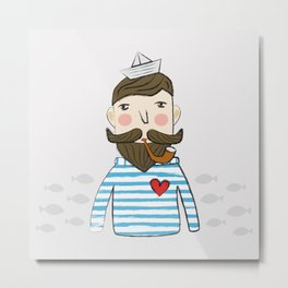 Lovely Bearded Sailor Man Illustration Metal Print