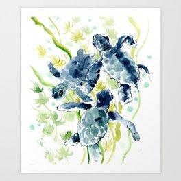 Sea Turtles , Indigo Blue Olive green Turtle art Art Print