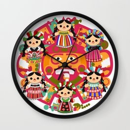 Mexican Dolls Wall Clock
