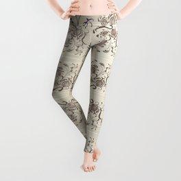 Sepia Floral Swirls Leggings