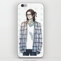 bucky barnes iPhone & iPod Skins featuring accidental hipster bucky by steammmpunk