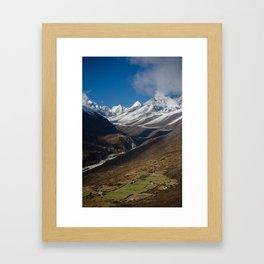 Pastures above Dingboche Framed Art Print
