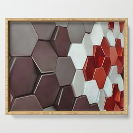 What The Hex Geo Abstract In Steel, Copper and White Serving Tray
