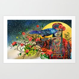 Witch and crow Art Print