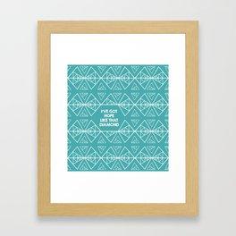 Triangles with Diamonds - Teal Hope Diamond Framed Art Print