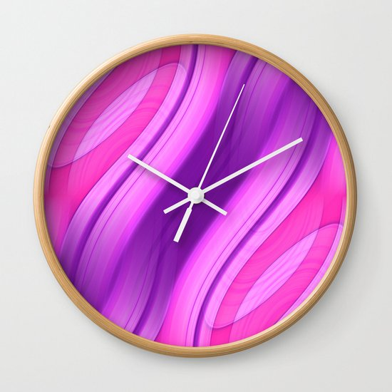 Pink and Purple Symmetry 1 Wall Clock