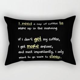 Morning coffee, or more sleep? (dark) Rectangular Pillow