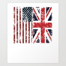 Union Jack British American Flags Art Print