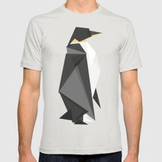 Fractal geometric emperor penguin Silver LARGE Mens Fitted Tee