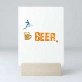 Funny Ski Beer Repeat Skiing & Skiers Mini Art Print