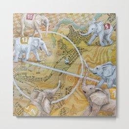 Elephant Football Metal Print