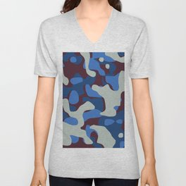 Blue & Burgandy Camo Pattern Unisex V-Neck