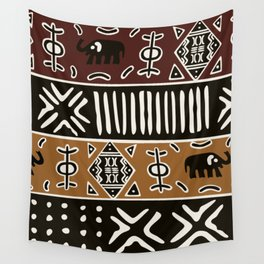 African mud cloth with elephants Wall Tapestry