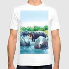hippos White MEDIUM Mens Fitted Tee
