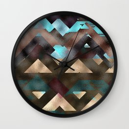 Bronze Brown Blue Burgundy Metal Abstract Mountains Wall Clock