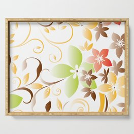 Flowers wall paper 5 Serving Tray