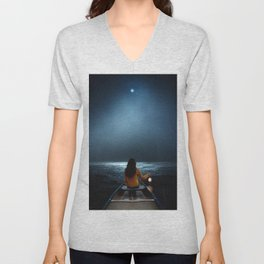 Woman in a boat in the ocean at night-Lantern Lights Unisex V-Neck