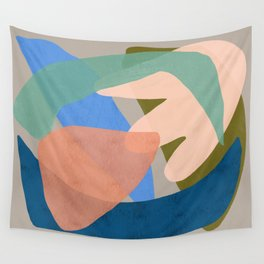 Shapes and Layers no.30 - Large Organic Shapes Blue Pink Green Gray Wall Tapestry