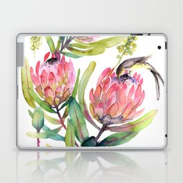 King Protea and Bird Watercolor Illustration Botanical Design Laptop & iPad Skin