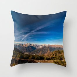 Sunny autumn day at the mount Tersadia in the italian alps Throw Pillow