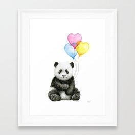 Panda Baby with Heart-Shaped Balloons Whimsical Animals Nursery Decor Framed Art Print