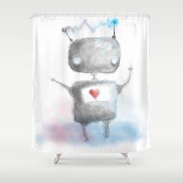 Robot Heartfelt Shower Curtain