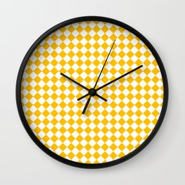 White and Amber Orange Diamonds Wall Clock