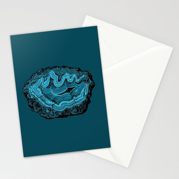 Teal & Turquoise Agate Crystal Gemstone Stationery Cards