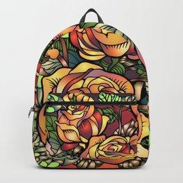 Orange Shaded Floral Backpack