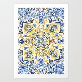 Wheat field with cornflower - mandala pattern Art Print