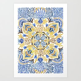 Wheat field with cornflower - mandala pattern Art Print