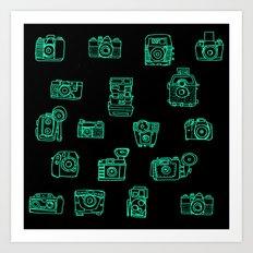Cameras: Teal Art Print