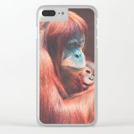 Baby and Mother Sumatran Orangutan Clear iPhone Case