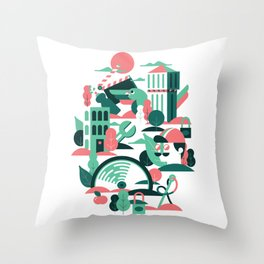 A sunny morning in Milan Throw Pillow
