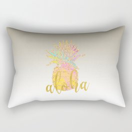 Metallic silver faux gold glitter tropical aloha pastel pineapple Rectangular Pillow