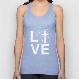I Love Jesus Tshirt Love Text LVE I Love God Christian Unisex Tank Top