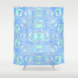 Watercolor blue crab Shower Curtain