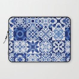 Indigo Watercolor Tiles Laptop Sleeve