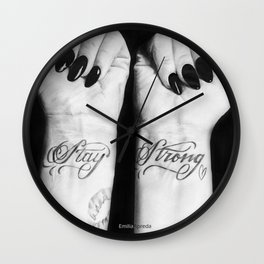 Demi Stay Strong Tattoo Drawing Wall Clock