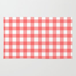 Red gingham fabric cloth, seamless pattern Rug