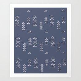 Modern Minimalist Triangle Pattern in Slate Blue Art Print