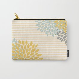 Floral Prints and Colorful Stripes, Yellow, Gray, Aqua, Colour Prints Carry-All Pouch