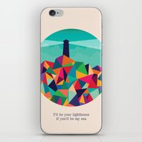 sayings iPhone & iPod Skins featuring I'll be your lighthouse if you'll be my sea by Picomodi