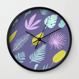 Leaves on blue Wall Clock