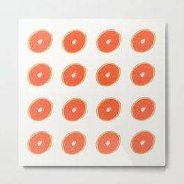 Orange Donut Pattern Metal Print