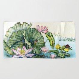 Japanese Water Lilies and Lotus Flowers Beach Towel