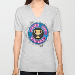 """Gold Badge for """"Solved Life´s Mysteries"""", yellow color, purple, green color Unisex V-Neck"""