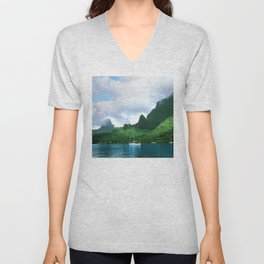 Sailboat in Cook's Bay: Moorea, South Pacific Unisex V-Neck