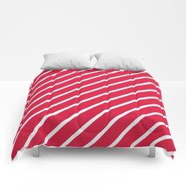 Diagonal Lines (White/Crimson) Comforters