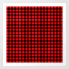 Australian Flag Red and Black Outback Check Buffalo Plaid Art Print
